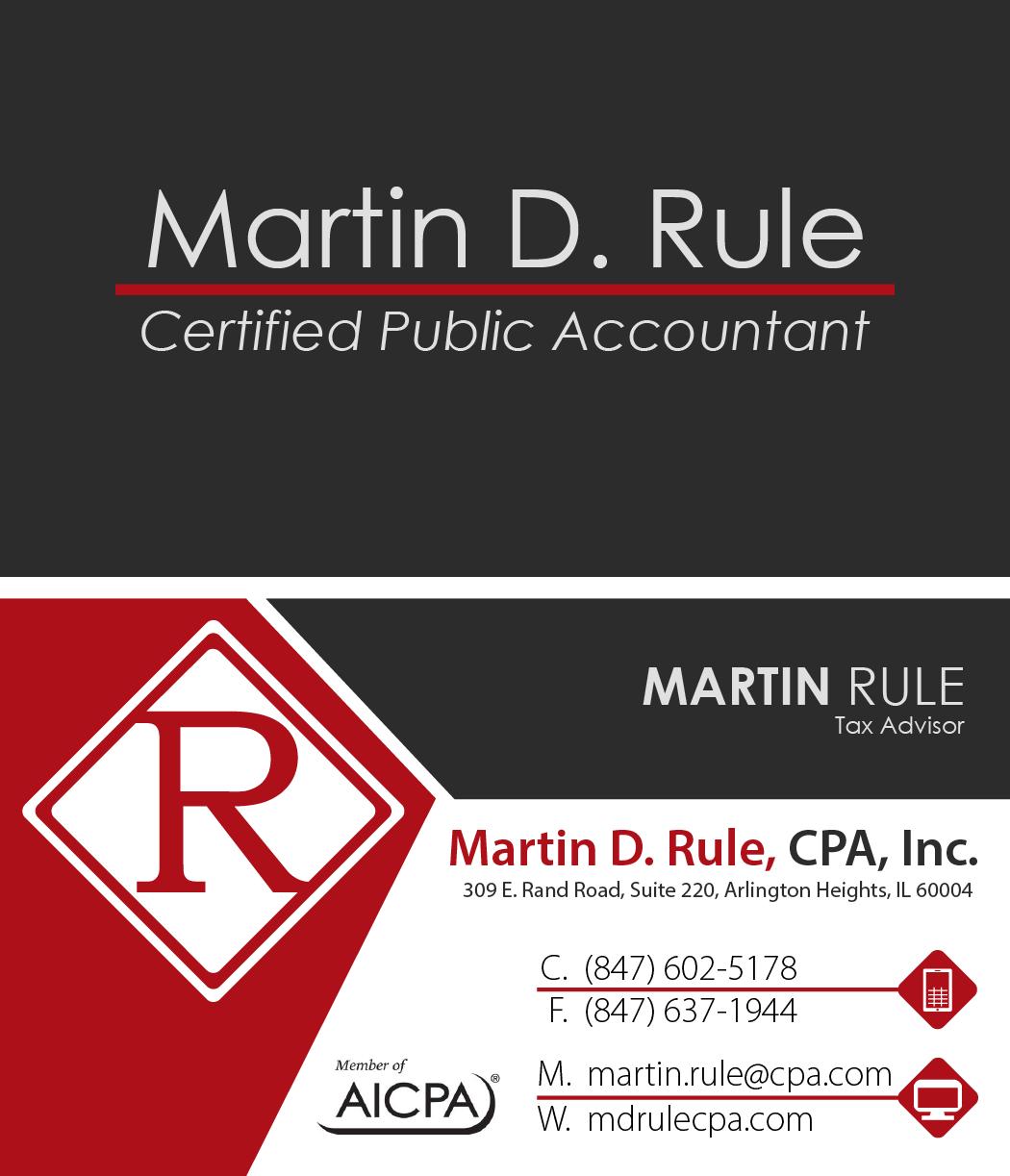 Martin D. Rule, CPA Inc. B-Cards – Ikarus Designs